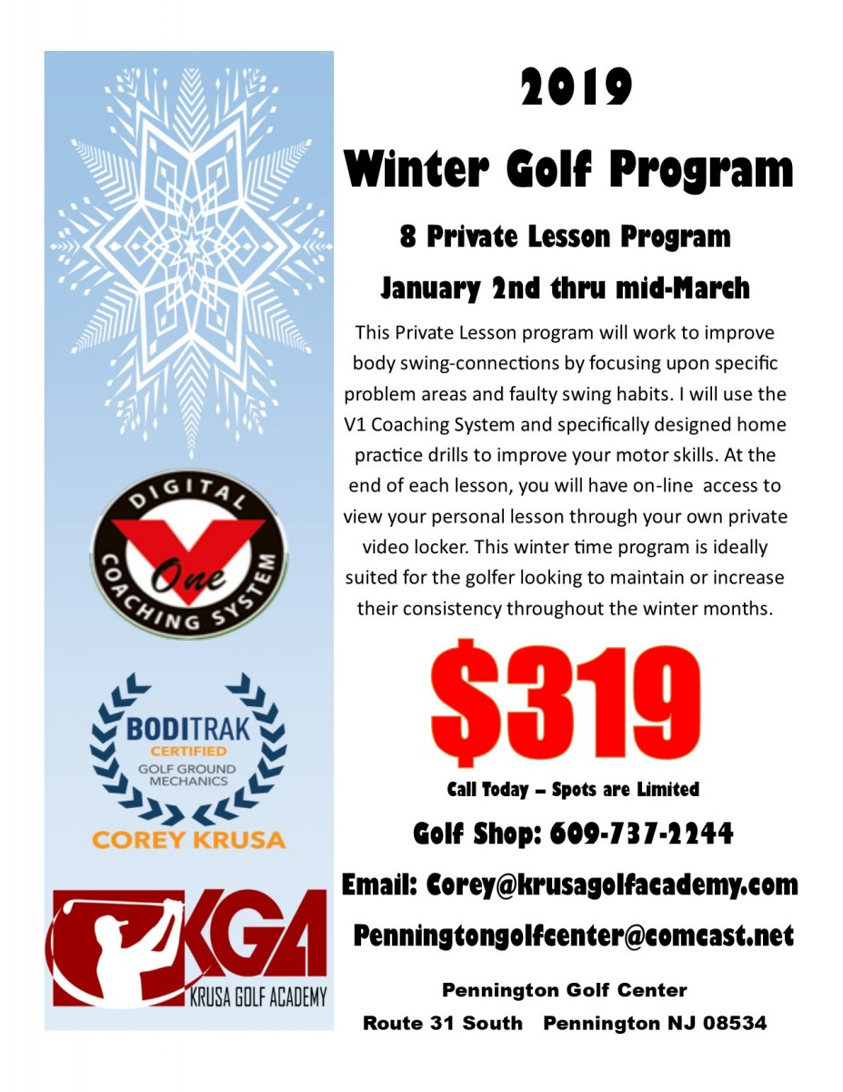 2019 Winter Golf Coaching  Program... Information now Available